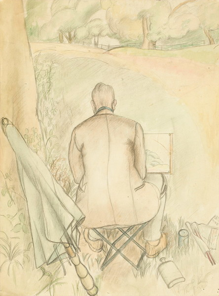 Rosalie-Brill: Portrait-of-the-artists-husband,-Reginald-Brill,-sketching,-circa-1930