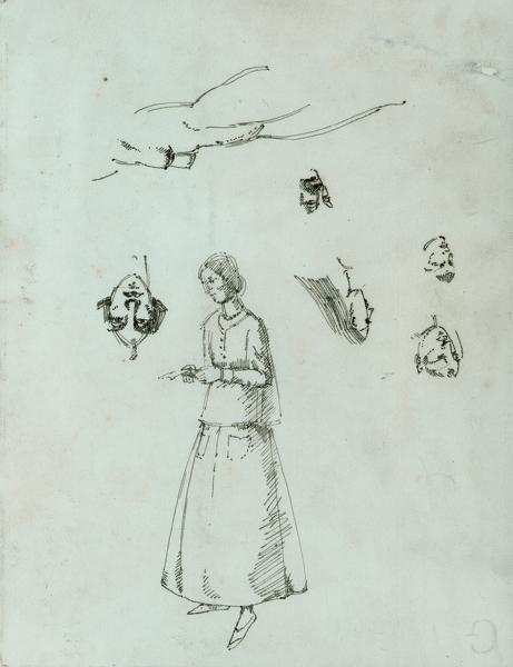 Artist Winifred Knights: Sheet of Figure Studies, with Self-portrait, circa 1922