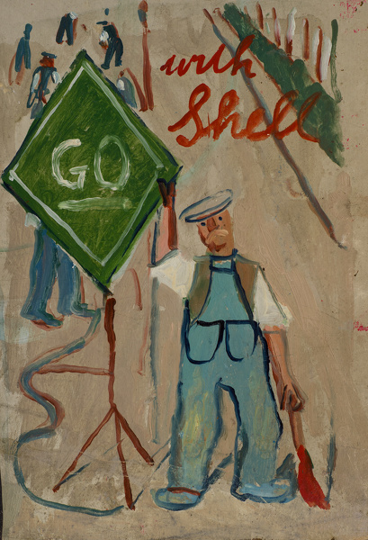 Artist Evelyn Dunbar (1906-1960): Go Shell, proposed design for Shell petrol. c.1937 [HMO 751]