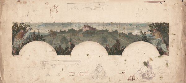 Artist Evelyn Dunbar: Colour sketch for the Hilly Fields mural frieze at Brockley County School for Boys, including incidental sketches [HMO 430]