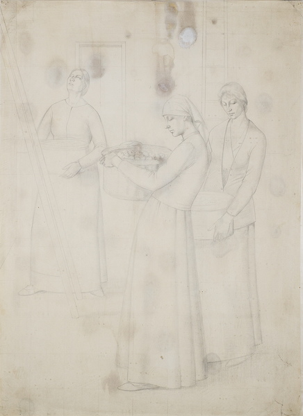 Artist Winifred Knights: Study for Design for Wall Decoration - Three Women Bearing Baskets of Apples, circa 1918