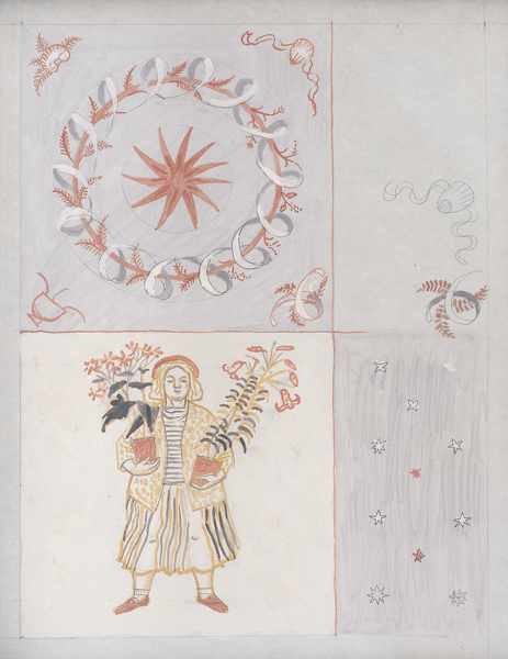 Artist Evelyn Dunbar: Study II for designs for an embroidered quilt [HMO 689]