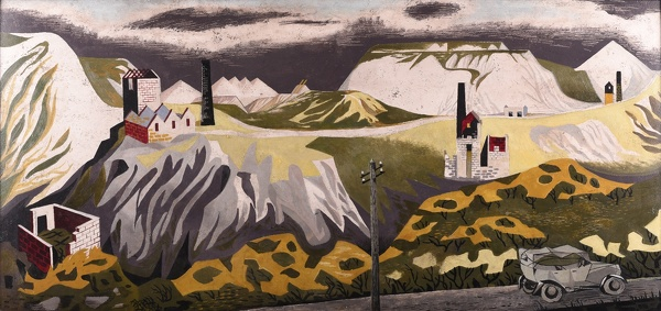 Artist Mary Adshead: The Old Rolls on Bodmin Moor; China Clay Landscape, circa 1950
