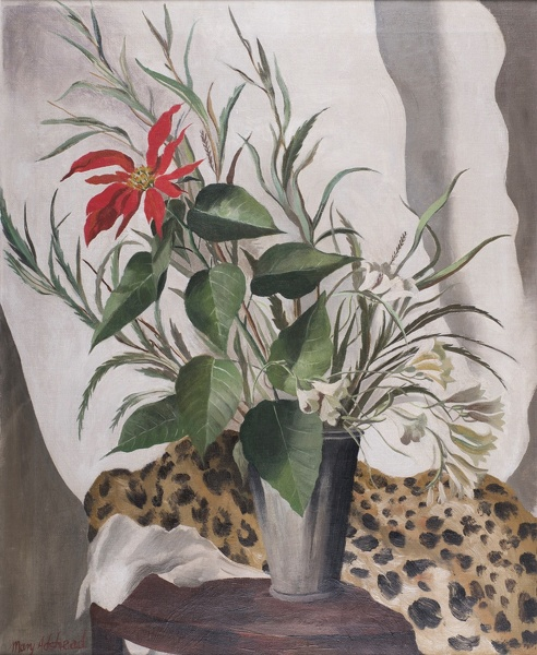 Artist Mary Adshead: Still life of red lily with leopard skin, mid 1930s