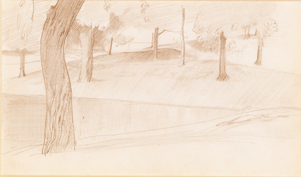 Artist Winifred Knights: Trees in the Borghese Gardens