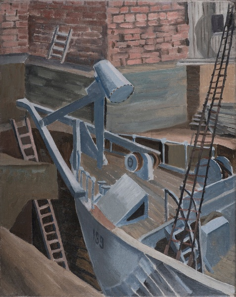 Artist Isobel Atterbury Heath: A Royal Navy Mine Sweeper in Dry Dock, circa 1940