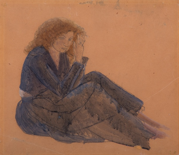 Artist Winifred Knights: Colour study for foreground figure of woman combing her hair, Santissima Trinita, mid 1920s