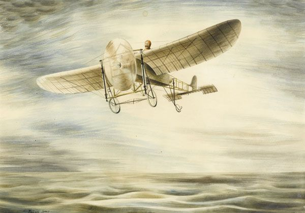 Artist Barbara Jones: Louis Bleriot flying the English Channel, 1909