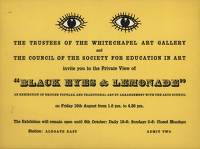 Artist Barbara Jones: Black Eyes & Lemonade invitation card private view, 1951