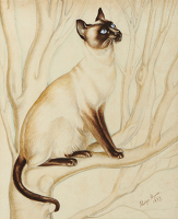 Artist Gladys Hynes: Siamese Cat in a Tree, 1937