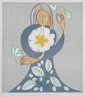Artist Frances Richards: Hieratic Floral Figure, 1974
