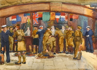 Artist Anna Zinkeisen: Lady Limerick's Free Buffet for Soldiers and Sailors, circa 1918