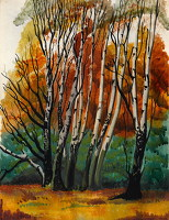 Artist Muriel Pemberton: Birch trees - Richmond Park, circa 1930