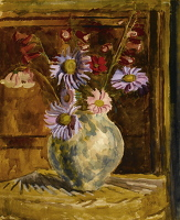 Artist Vanessa Bell: Still life of flowers in a vase, violet and pink chrysantemem, late 1940s