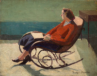 Artist Evelyn Dunbar: Portrait of the artist's mother, Florence, on a bentwood rocking chair, c.1930 [HMO 797]