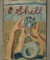Artist Evelyn Dunbar: I Shell, Sketch for design for Shell petrol. c.1937 [HMO 751]