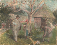 Artist Evelyn Dunbar: The Dunbar family in the Garden at The Cedars, Spring (Version 1), c.1928 (HMO 75)