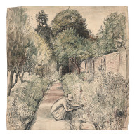 Artist Evelyn Dunbar: The Herbaceous Border at The Cedars c.1934 (HMO 68)