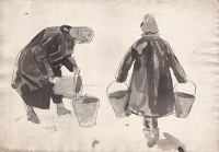 Artist Evelyn Dunbar: Study of two trainee Land Girls, c.1940, [HMO 52]