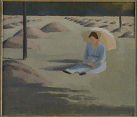 Artist Winifred Knights: Mabel Knights seated in a hayfield