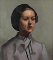 Artist Phoebe Willetts-Dickinson: Young woman in a beret, probably a Land Army girl, circa 1940