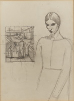 Artist Winifred Knights: Self-portrait with Compositional Design, circa 1919