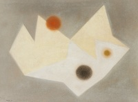 Artist Paule Vezelay: White and Cream Form with Three Circles