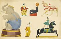 Artist Mary Adshead: Designs for circus decoration, circa 1930