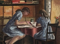 Artist Mary Adshead: The Landlady's Daughters, Llanbedre, near Harlech, c. 1941