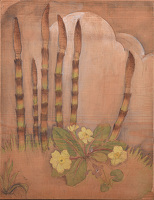 Artist Viola Paterson: Horsetail shoots (Equisetum sp) with primrose (Primula vulgaris)and violet (Viola sororia)