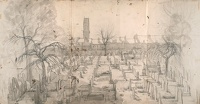 Artist Marion Adnams: Study for Spring in the Cemetery, Uttoxeter Road, Derby, 1956