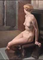 Artist Phoebe Willetts-Dickinson: A seated model in the studio, three quarter rear view, late 1930s
