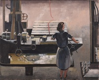 Artist Isobel Atterbury Heath: Woman operating a lathe turning the fuse tips of munitions, c.1944