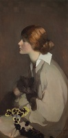 Artist Norah Neilson Gray: Young Woman with Cat, circa 1928