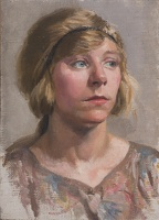 Artist Phyllis Dodd: Portrait of a young woman, head and shoulders, three quarter view, with hairband, early 1920s