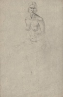 Artist Winifred Knights: Study for the Marriage at Cana, seated nude, three quarter frontal view, circa 1924