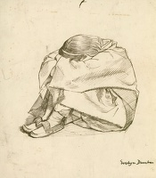 Artist Evelyn Dunbar: Girl seated with arms around her knees and her head resting on her arms