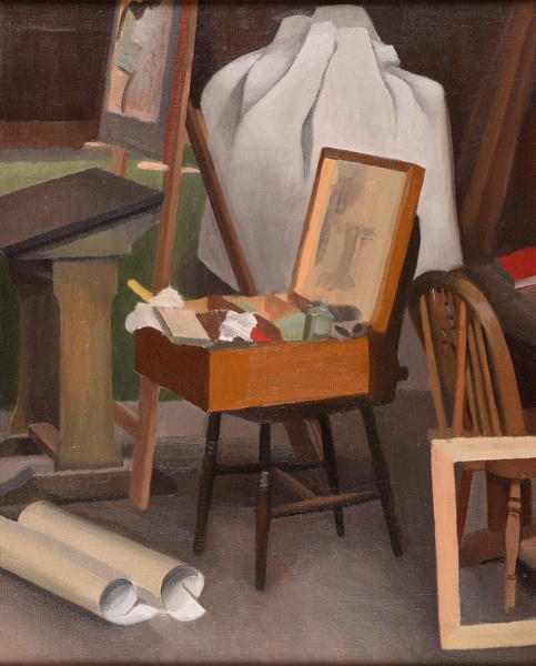 Phoebe-Willetts-Dickinson: Corner-of-the-Artists-Studio-with-paintbox-on-a-Windsor-chair