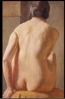 Artist Margaret Maitland Howard: Rear view seated nude, circa 1920