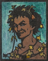 Artist Marion Wallace Dunlop: Bacchus, (turquoise ground), circa 1906