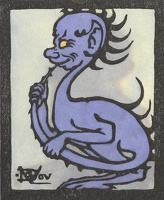 Artist Marion Wallace Dunlop: A Quizical Demon, (purple) from Devils in Diverse Shapes, circa 1906